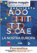 PRIMO MAGGIO - Festa dei lavoratori 2019 - EUROPA, DIRITTI, STATO SOCIALE